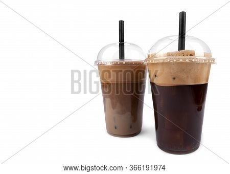 Frappe Coffee With Straw In Plastic Takeaway Cup Isolated On White Background
