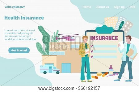 Health Insurance Medical Landing Page Cartoon Vector Illustration. Medical Insurant, Insurer Doctor