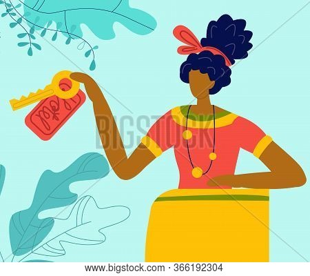 Hotel Reception Happy Female Receptionist Holding Key At Desk, Tourism Service Flat Vector Illustrat