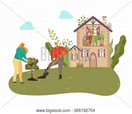People Planting Tree In Garden With Country House, Plants And Gardening At Nature, Men With Showel I