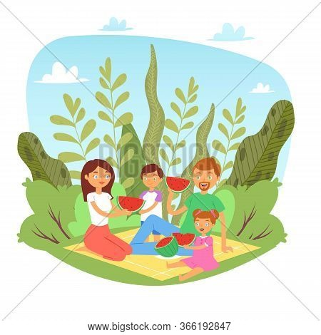 Happy Family With Kids On Picnic With Watermelon In Nature, Weekend With Family Father, Mother And C