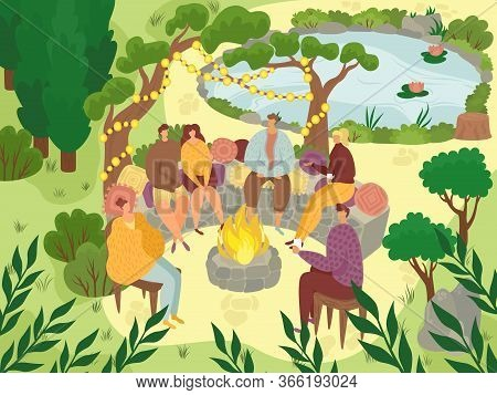 Garden Picnic, People Sitting On Rocks In Garden Party Outside, Backyard Celebration Flat Vector Ill