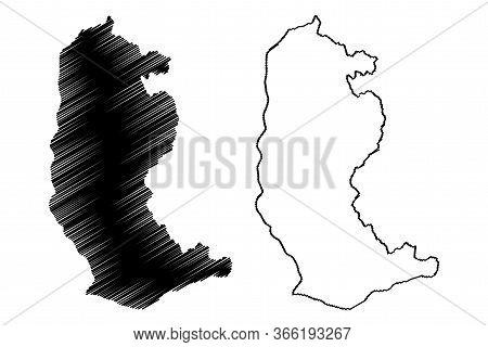 Trashiyangtse District (districts Of Bhutan, Kingdom Of Bhutan) Map Vector Illustration, Scribble Sk