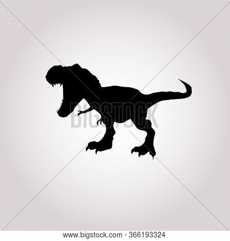 Trex Dinosaur Black Silhouette Icon Vector. Tyrannosaurus Rex Vector. Trex Black Silhouette Icon Vec