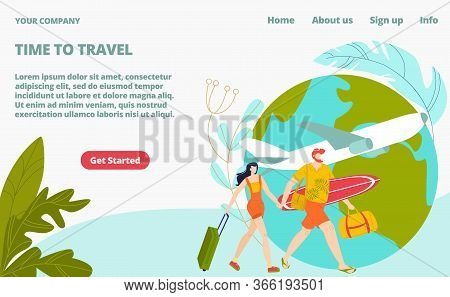 Time To Travel Tourism Landing Page, Young People Travellers On Vacation With Traveling Bags And Air