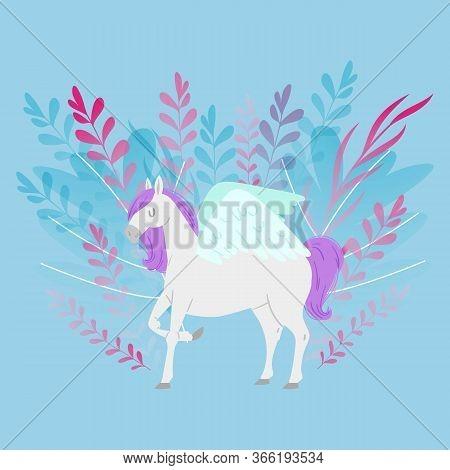 Pegas Or Unicorn Fantasy Magic Horse Cartoon Vector Illustration For Children Design. Cute Fantasy A