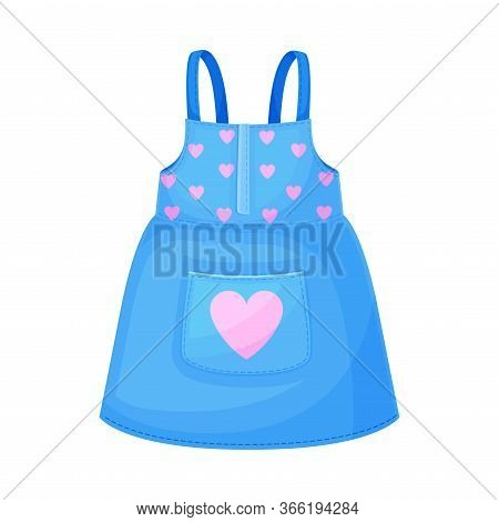 Sleeveless Pinafore Skirt With Straps For Girls Vector Illustration