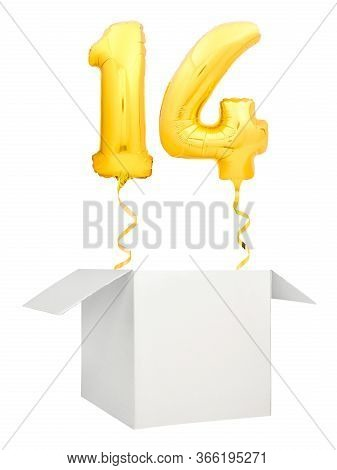 Golden Number Fourteen Balloon Flying Out Of Blank White Box Isolated On White Background