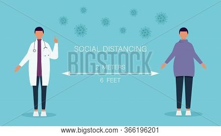 social distancing vector illustration, Social distancing, keep distance in public society people to protect from covid-19. Keep distance sign. Coronovirus epidemic protective equipment. Preventive measures. Steps to protect yourself. Keep the 2 meters dis