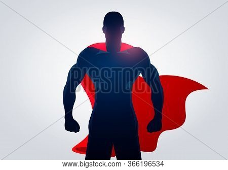Vector Illustration Superhero In Strong Pose With Cape. Silhouette Of A Super Hero Man