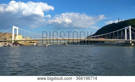 Panoramic View At Budapest With Freedom Liberty Bridge Over Danube River