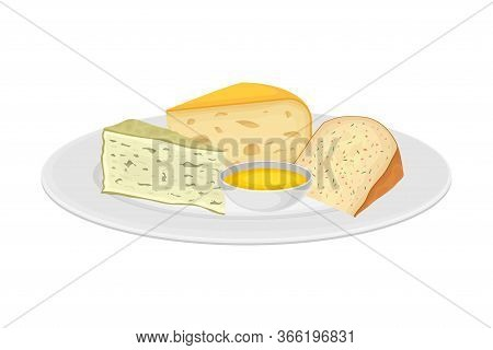 Italian Cheese Slabs Rested On Plate With Sauce Vector Illustration
