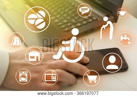 Disabled Icons On The Computer Background. Assistance To The Disabled. Concept Of Development Of The