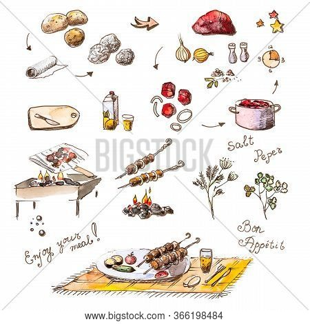 Set Of Skewers Drawings And Ingredients For Cooking: Meat, Potatoes, Foil, Coals, Barbecue, Marinade