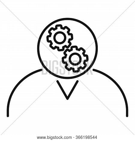 Gear Head Advice Icon. Outline Gear Head Advice Vector Icon For Web Design Isolated On White Backgro