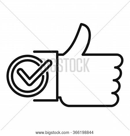 Thumb Up Approved Icon. Outline Thumb Up Approved Vector Icon For Web Design Isolated On White Backg