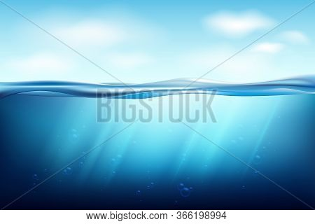 Transparent Underwater Blue Ocean Background. Lake Underwater Surfaces. Relax Blue Horizon Backgroun