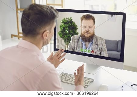 Online Work Training Education Video Chat Call Webcam Conference. Male Coach Says Business Course Vi