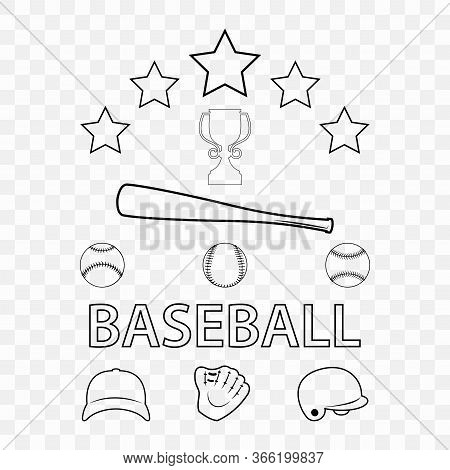 A Set Of Baseball Attributes On A Transparent Background. Silhouettes Of Icons Baseball Accessories.
