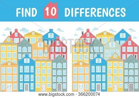 Find Ten Differences. Mindfulness Game For Children And Adults. Houses, City, Street. Vector Illustr
