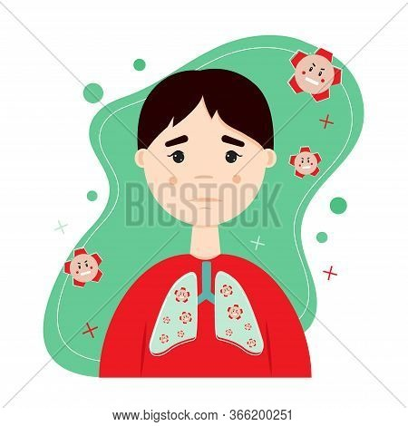 Lungs, Bronchi, Respiratory System. Microorganisms, Viruses, Bacteria, Pathogen. Concept Of Bronchit