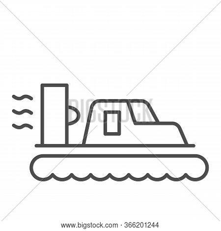 Hovercraft Thin Line Icon, Sea Transport Symbol, Marine Transportation Vector Sign On White Backgrou