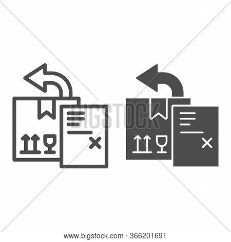Return Delivery Box With Report Document Line And Solid Icon, Delivery And Logistics Symbol, Shippin