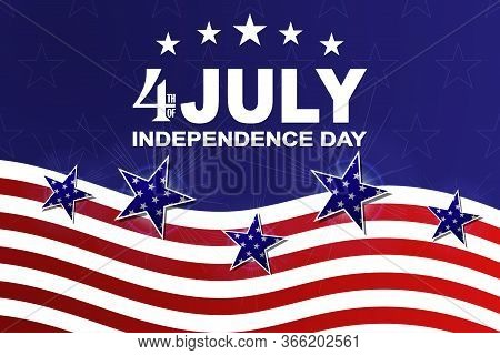 Background For Usa Independence Day. Template For 4th Of July Design With Stars And Stripes. Vector