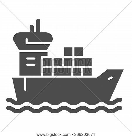Shipping Vessel With Containers Solid Icon, Delivery And Logistics Symbol, Cargo Ship Vector Sign On