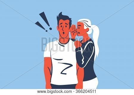 Surprise, Amusement, Secret, Rumour Concept. Young Woman Or Girlfriend Telling Or Whispering Secrets