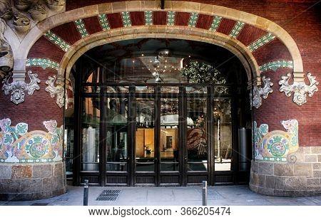 Barcelona, Catalonia, Spain - April 14, 2015: Facade and entrance of The Palau de la Música Catalana (Palace of Catalan Music), architect Lluís Domènech i Montaner.