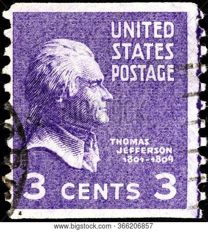 02 11 2020 Divnoe Stavropol Territory Russia The Postage Stamp United States 1938 Thomas Jefferson 1