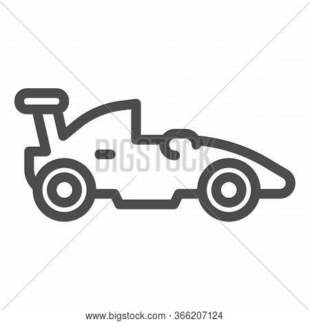Sports Racing Car Line Icon. Race Vehicle Automobile Symbol, Outline Style Pictogram On White Backgr