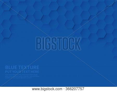 Hexagonal Texture. Ocean Blue Honeycomb 3d Geometric Pattern, Abstract Tech Science Modern Paper Cut