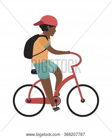 Boy Riding Bicycle. Happy Teenager With Helmet Rides, Isolated Vector Child Outdoor Recreation Activ