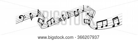 Music Notes Silhouettes. Musical Swirl Flowing Melody Waves Vector Abstract Illustration