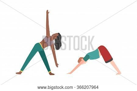 People Doing Fitness Or Yoga. Woman And Man Do Exercises Flat Vector Training Illustraton