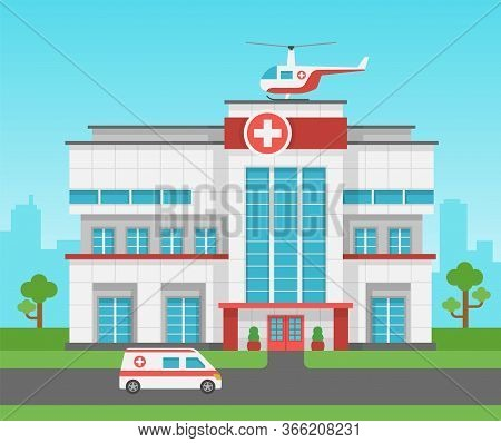 Hospital Building. Health Centre, Medical Clinic Panorama Exterior And Ambulance Car, Helicopter. Me