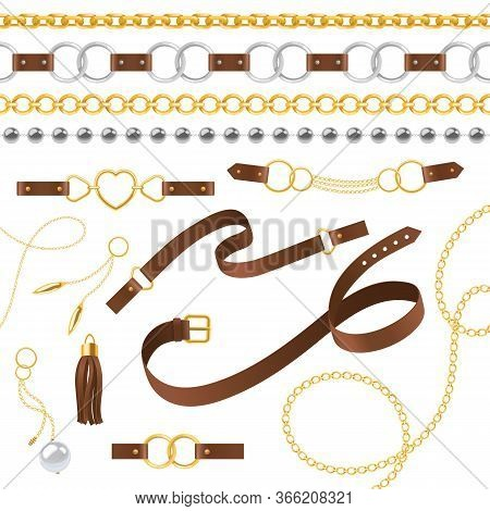 Belt Elements. Braid, Pendants Chain And Bracelet, Leather Straps And Metallic Buckle, Jewelry Desig