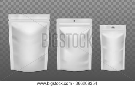 Zip Package. Blank Foil Bags Of Different Size, Plastic Sachet Pouch For Coffee, Candy Or Nuts. Pack