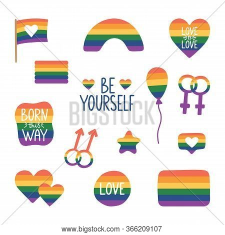 Lgbtq Stickers Set With Hand Lettering. Pride Month Hand Drawn Icons. Tolerance Day Card. Pride Flag