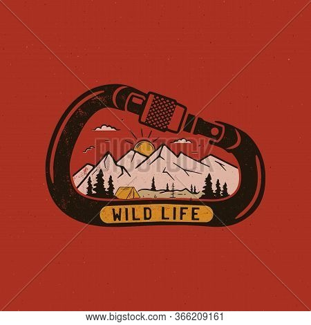 Wild Life Logo Design Print. Mountain Adventure Scene Badge Inside The Carabiner. Wilderness Patch.