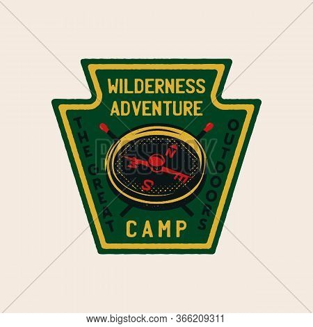 Wilderness Adventure Logo Design Print. Camping Compass Badge. Great Outdoors Patch. Camp Design For