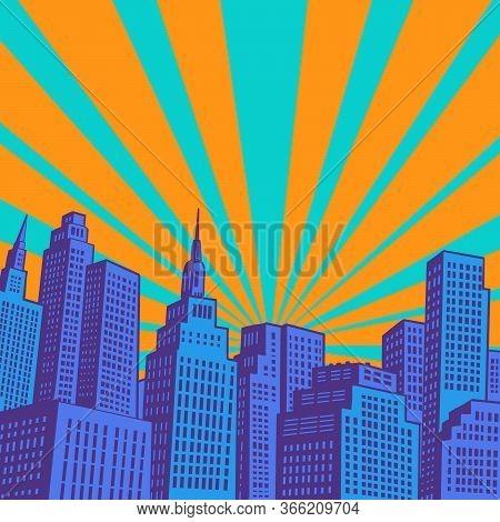 Modern City Skyscrapers. Pop Art Retro Vector Illustration 50s 60s Style
