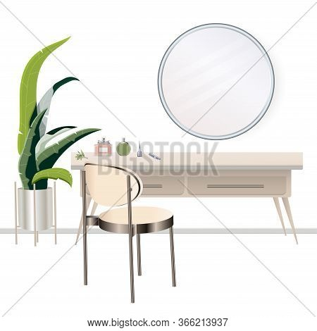 Vanity Table With Cosmetic Mirror On Wall. Female Boudoir For Makeup. Makeup Table. Vector Illustrat
