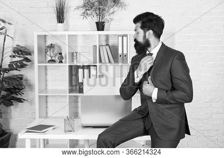 Business Consulting Services. Developing Business. Making Career. Boss In Office. Man Beaded Hipster