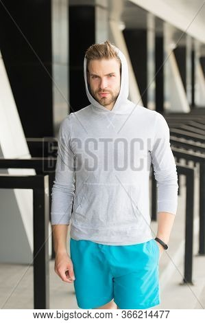 Brazenly Sporty. Sexy Athlete With Sporty Look. Handsome Man Wear Sporty Clothes. Fitness Model At S