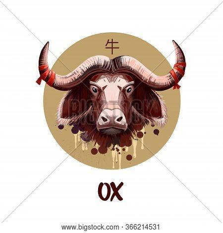 Ox Chinese Horoscope Character Isolated On White Background. Symbol Of New Year 2021. Animal Ram Or