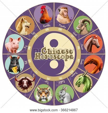 Set Of Chinese Horoscope Characters Isolated. Rat, Ox, Tiger, Rabbit, Dragon, Snake, Horse, Goat, Mo