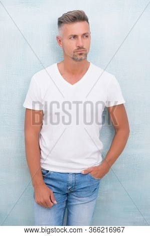 Handsome Hipster. Style And Versatility Of Quality Tshirt. Summer Fashion. Mature Man Casual Outfit.